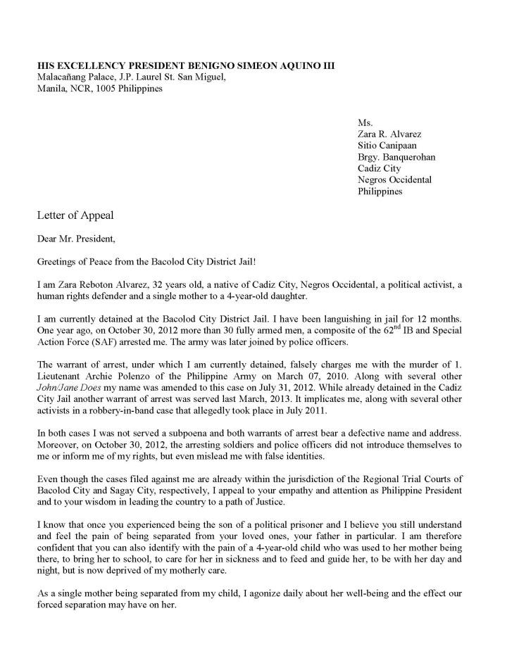 131030 Zara Alvarez letter to the President