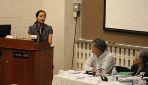 Melissa Roxas testifies during hearings of the International Peoples' Tribunal